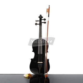 New 1 4 Black Acoustic Violin with Case Bow Rosin