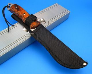 Sawback Finger Groove Wood Handle Fixed Blade Bowie Hunting Knife