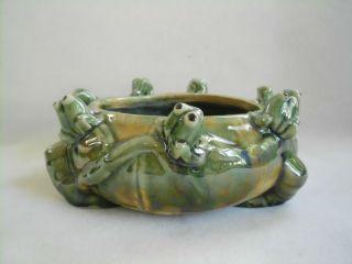 Vintage MAJOLICA Ikebana Art Pottery FROG Bowl PLANTER Flower VASE