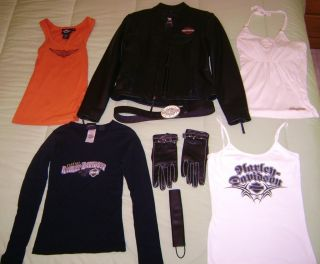 Harley Davidson Womens XS Leather Jacket and Clothes