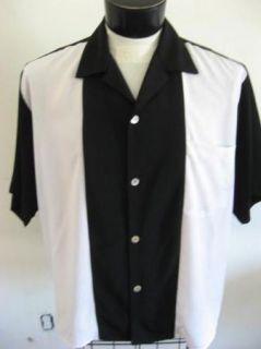 New 50s Rockabilly 2Tone Retro Panel Bowling Shirt 4XL