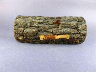 Art Primitive Wood Log Carved Fish Handle Trinket Jewelry Box