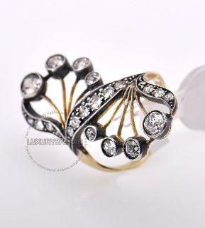 Estate 18K Gold Platinum Diamond Art Nouveau Ring