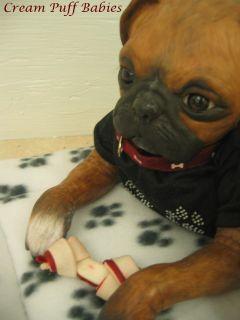 REBORN PUG DOG PRINCESS BOXER DOG DOLL BY DENISE PRATT & CREAM PUFF