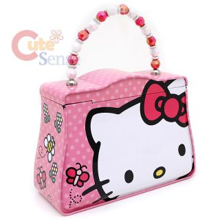 Hello Kitty Tin Box Lunch Case Jewelry Box w/ Beads Handle Big Face
