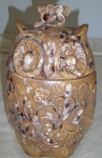 CERAMIC OWL COOKIE JAR SIGNED AND DATED 1974