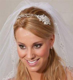 Rhinestone Crystal Floral Bridal Headband Sidepiece Gorgeous