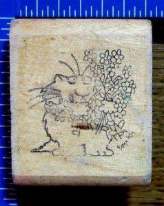 Sandra Boynton Rubber Stamp Kitty Cat Bouquet Flowers Funny XX RARE