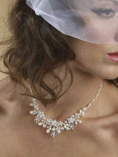 Silver White Bridal Jewelry Set Real Pearl Crystal Necklace Earrings