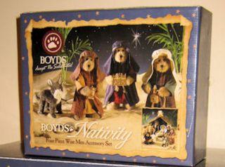Retired Boyds Bears 3 Wise Men & Donkey Nativity Christmas Set