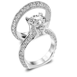 Round Engagement Ring Wedding Band Royal Bridal Set EGL USA 18K
