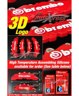 3D New Brembo Racing Disc Brake Caliper Covers 4 Pieces Set Front and