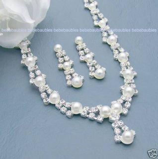 Bridal Wedding Bridesmaid Jewelry Pearl Necklace Set