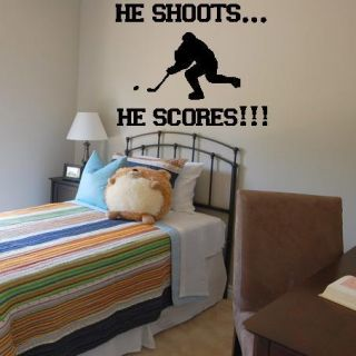 He Shoots He Scores Hockey Wall Lettering Decal Vinyl