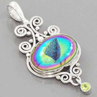 Peridot Titanium Druzy Gemstone 925 Sterling Silver Pendant Jewelry