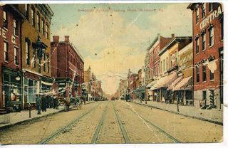 Braddock Pennsylvania Downtown Main Street Scene Antique Vintage
