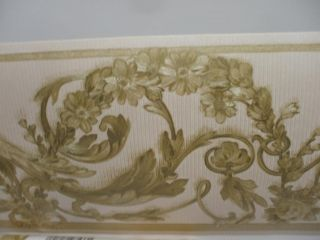 Off White Satin Border with Metallic Gold Flowers by Brewster