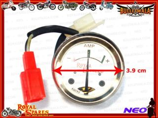Brand New Box Royal Enfield White Face 8 Ampere Ammeter