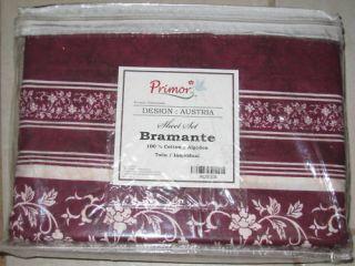 Primor Bramante Austia Red Floral Stripe Twin Sheet Set