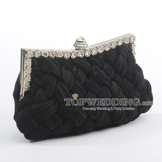 Satin Evening Clutch with Rhinestone Wedding Handbags