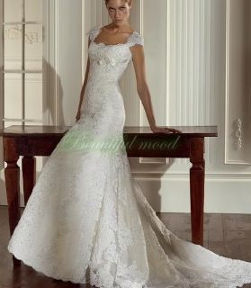 Sexy Beaded Lace Bridal Wedding Dresses Ball Gown Size Custom