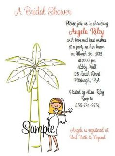 Custom Palm Tree Beach Bride Bridal Shower Wedding Invitations