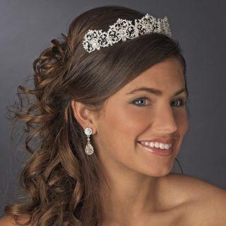 Royal Bridal Tiara Silver Sparkling Rhinestone Tiara Crown