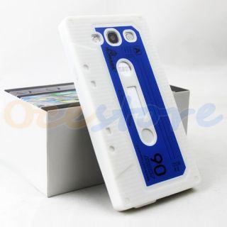 White Cassette Tape Silicone Rubber Case for Samsung Galaxy S3 s III 3