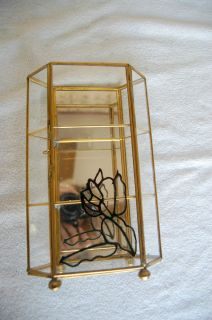 Brass & Glass Mirror Back Collectibles Display Cabinet/ Case