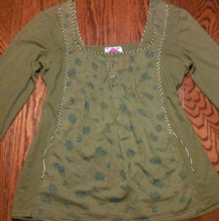 Free People Womens Green Long Sleeve Shirt Size Medium Adult Sz M
