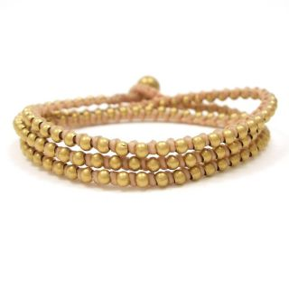 Wrap Mini Brass Beads Single Strand Tan Cotton Rope Bracelet