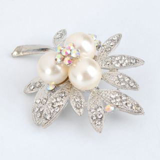 New Leaf Rhinestone Imitation Pearl Brooch Pin Silver White
