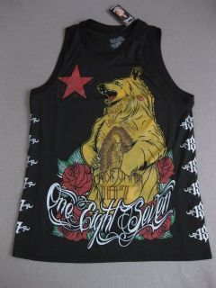 Cali Oso Bear Jersey Tank Top 187 Inc Shirt Tee Black Red MMA Fight
