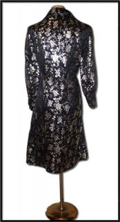 Authentic Vtg 50s Metallic Brocade Satin Cocktail Dress Bombshell