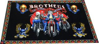 Brothers In The Wind Skull Bikers 100% Cotton Wall hanger / Tapestry