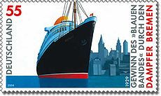 ss bremen depicted on a german postage stamp