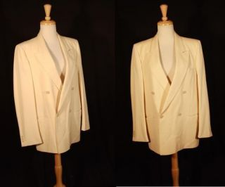 Vtg Double Breasted Italian White Wool Dinner Jacket M