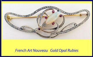 Antique Art Nouveau Brooch Diamond Opal Ruby Platinum Gold French 5147