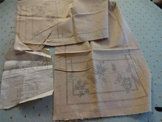 Stamped Linen TABLE Dresser SCARF w Instructions CARTIER BRESSON
