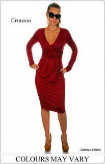 Sexy Long Sleeve Stretchy Jersey Dress ♥ Sizes 8 16 ♥ Made in