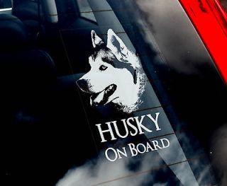 husky dog car sticker siberian sign n collar harn ess
