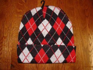 Argyle Pattern Knit Black & Two Tone Grey Watch Cap Beanie Winter Cuff