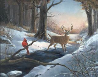 McDonald s N Deer Cardinal Print Winter Crossing