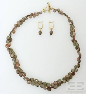 reteneir 18k yellow gold brown semiprecious gemstone necklace earrings