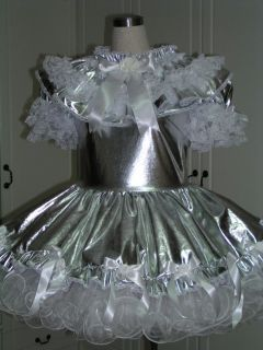 bbt adult sissy french maid dress sliver taffeta from hong