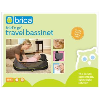 Brica Fold N and Go Travel Portable Sleep Baby Bassinet Bed Green Grey