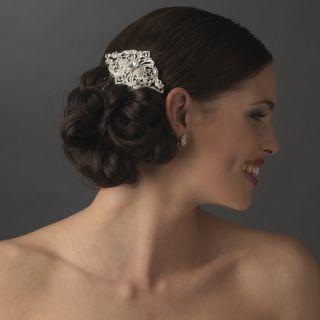 NWT SILVER VINTAGE STYLE BRIDAL WEDDING HAIR COMB