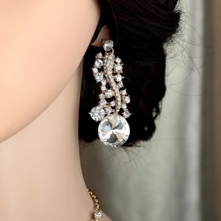 Gold Plated Rhinestone Crystal Bridal Wedding Jewellery Set Clear