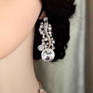 Gold Plated Rhinestone Crystal Bridal Wedding Jewellery Set Clear