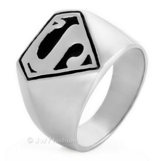 Mens Silver Stainless Steel Superman Wedding Rings Band VE383